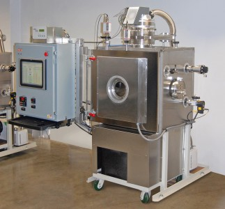 High Vacuum Test System with Cascade Refrigeration, configured with Custom PC/Touchscreen GUI Controller with robust datalogging functionality for LEO Space Simulation.